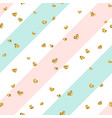gold heart seamless pattern blue-pink-white vector image vector image