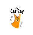greeting card with text world cat day portrait vector image vector image
