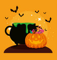 halloween card with cauldron and pumkin vector image vector image