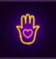 heart hand neon sign vector image vector image