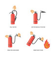 instructions for use of a fire extinguisher vector image