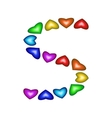 Letter S made of multicolored hearts vector image