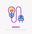 light bulb with plug thin line icon vector image
