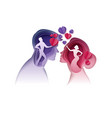 man and woman looking at each other giving hearts vector image