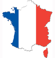 map france with national flag vector image vector image