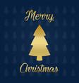 merry christmas golden tree vector image vector image
