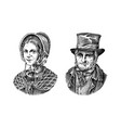 old man and woman in a vintage suit poor peasant vector image