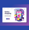 online shopping landing page template vector image vector image