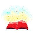 Open book full of magic vector image