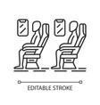 Passengers at plane salon linear icon