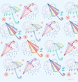 pattern umbrella and cloud with rain vector image