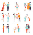 people giving and receiving gifts set men women vector image