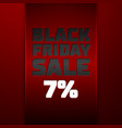 red ribbon with black friday sale seven percent vector image