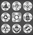 round and square steel button vector image vector image