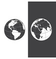 set earth globe icons in day and night earth vector image