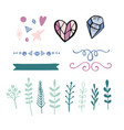 set of hand drawn decorative elements for vector image vector image