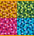 set seamless hexagon mosaic patterns vector image