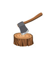 symbol and icon a forest stump with an ax vector image