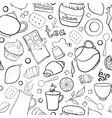 Tea and sweets black and white seamless pattern vector image vector image