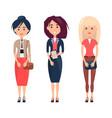 three women in various dresses vector image vector image