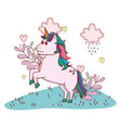 unicorn with leaves vector image