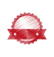 hand drawing red label empty with ribbon vector image