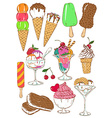 Set of isolated colorful ice cream icons vector image