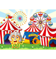A monster at the carnival wearing a safety helmet vector image vector image