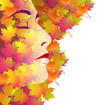 Backround with womans face and autumn leaves vector image vector image