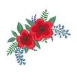 beautiful bouquet with red flowers and leaves vector image vector image