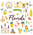 big set florida icons symbols landmarks vector image