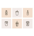 black icons of takeaway drinks vector image