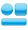 blue buttons collection of shiny 3d icons vector image
