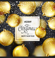 christmas background with tree balls and snow vector image vector image