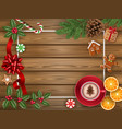 christmas decorations on wooden background vector image vector image