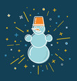 colored snowman icon in thin line style vector image