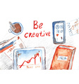 Creative process banner with office table vector image vector image