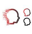 dust pixel halftone boy head icon vector image vector image