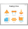 engineer icons flat pack vector image