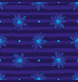 flower pattern seamless trendy striped blue vector image