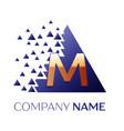 golden letter m logo symbol in blue pixel triangle vector image vector image