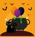 halloween card with cauldron and black cat vector image vector image