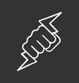 hand holding lightning bolt chalk icon vector image vector image