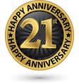 happy 21st years anniversary gold label vector image vector image