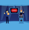 happy man pushing button on quiz tv show vector image vector image