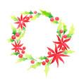 holly christmas wreath watercolor vector image