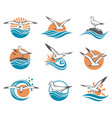icons of seagulls vector image vector image