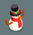 isometric snowman christmas winter character new vector image vector image