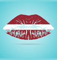 latvia flag lipstick on the lips isolated on a vector image vector image