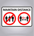 maintain distance 6 feet no assembly sign covid19 vector image vector image